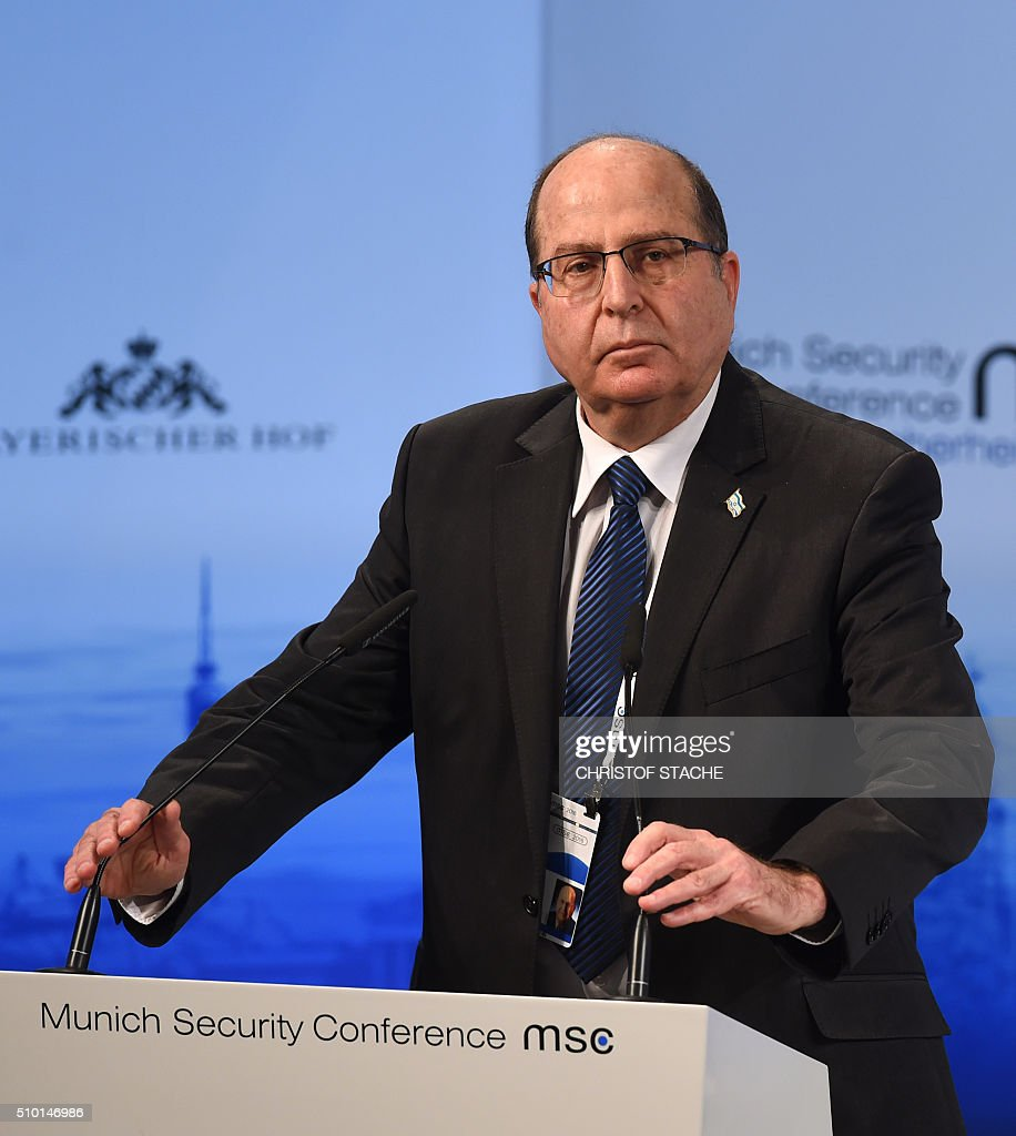 The Israeli Minister of Defense Moshe Yaalon speaks during a panel discussion on the third day of the 52nd Munich Security Conference (MSC) in Munich, southern Germany, on February 14, 2016. / AFP / Christof STACHE