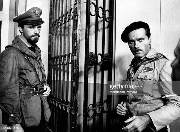 The Italian actor and director Lino Capolicchio and the Italian actor Franco Nero acting in the film Last Days of Mussolini They play the role of the...