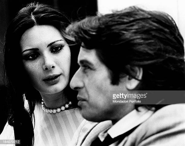The Italian actor Corrado Pani and the Frenchborn American actress Edwige Fenech acting in Anna the pleasure the torment Stresa 1973