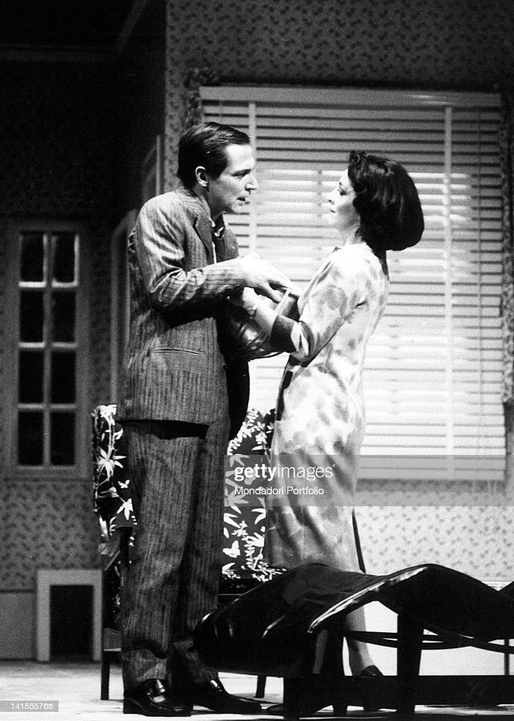 The Italian actors Carlo Cecchi and Anna Bonaiuto acting in Harold Pinter comedy 'The Lover' at Teatro Niccolini San Casciano in Val di Pesa