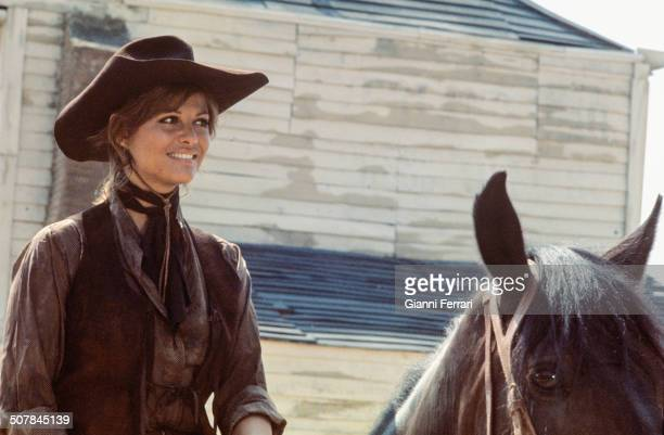 The Italian actress Claudia Cardinale during the filming of the movie 'Las Petrolerasl' Colmenar Viejo Madrid Spain