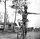 The Italian actress Elsa Martinelli riding a bicycle during the shooting of the movie 'La risaia' Casalino August 1955