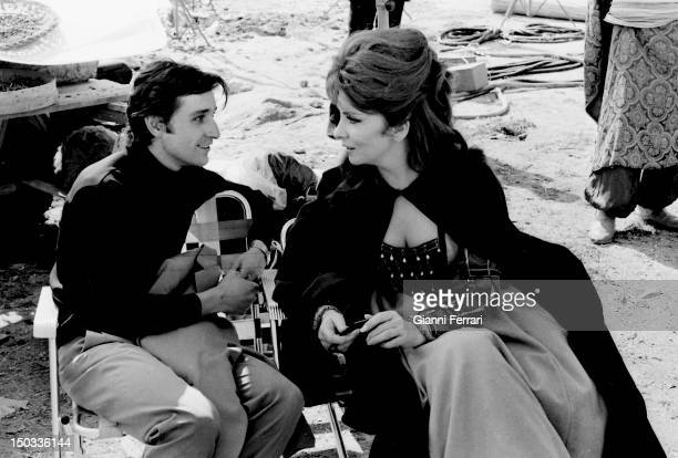 The Italian actress Gina Lollobrigida with the Spanish dancer Antonio Gades during a break of the filming of the movie 'Cervantes' 11th December 1965...