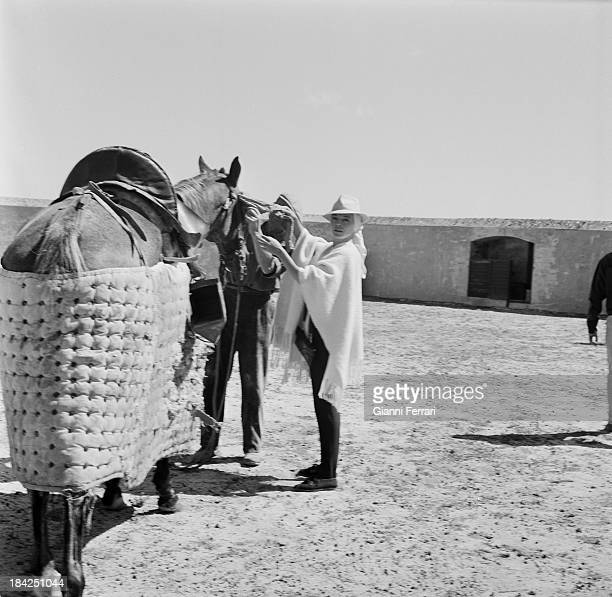 The Italian actress Virna Lisi in the small bullring on the farm æVilla PazÆ of the bullfighter Luis Miguel Dominguin Cuenca Castilla La Mancha Spain