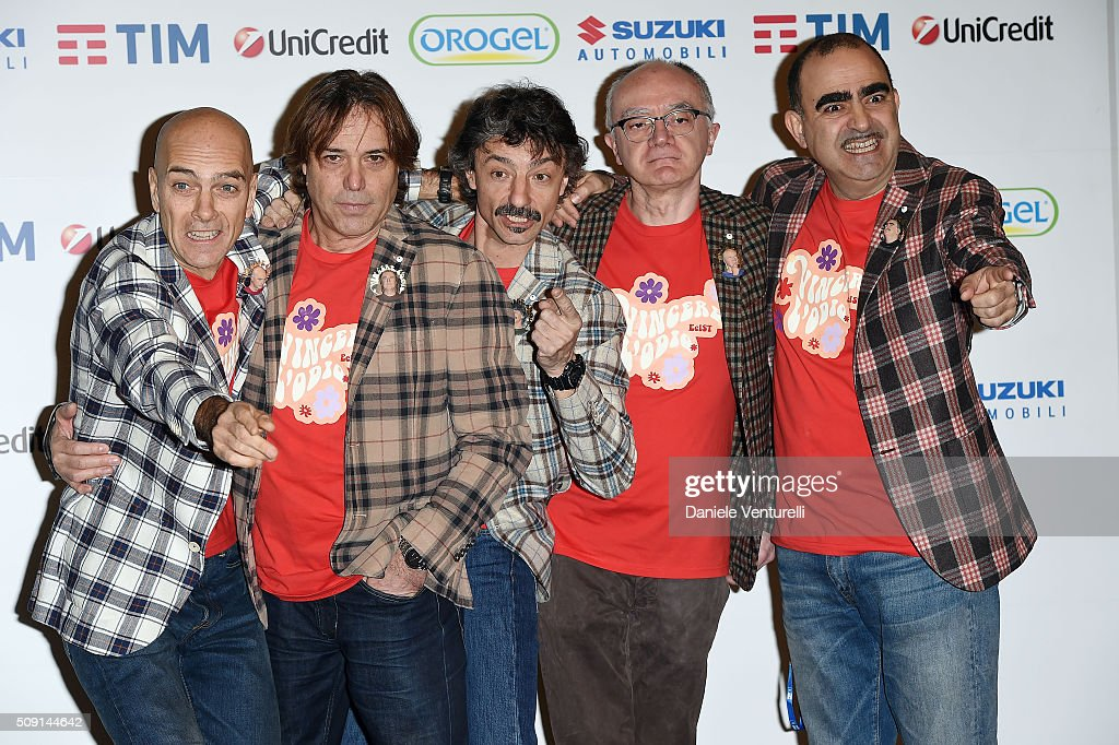The Italian band Elio e Le Storie Teseattends a photocall at 66. Sanremo Festival at Teatro Ariston on February 9, 2016 in Sanremo, Italy.