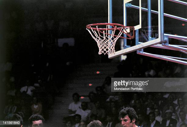 The Italian basketball team under the basket during the first match against the Yugoslavian team and lost 7885 Munich August 27 1972