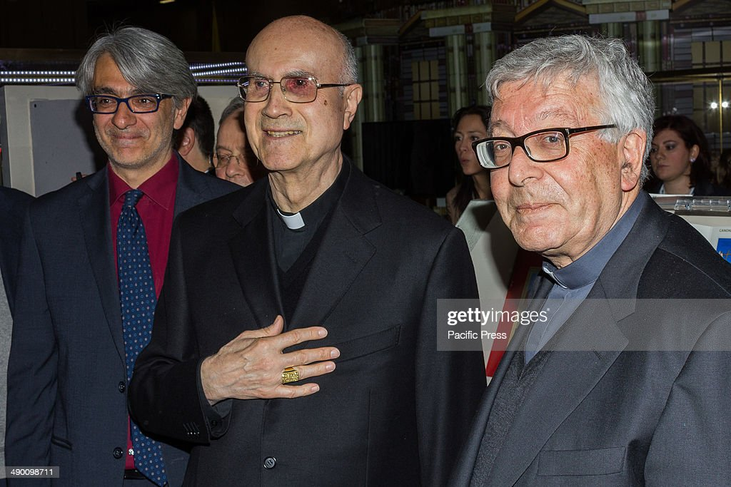 The Italian Catholic Cardinal and Archbishop Tarcisio Pietro Evasio Bertone on a visit to the 27th edition of the International Book Fair in Turin...