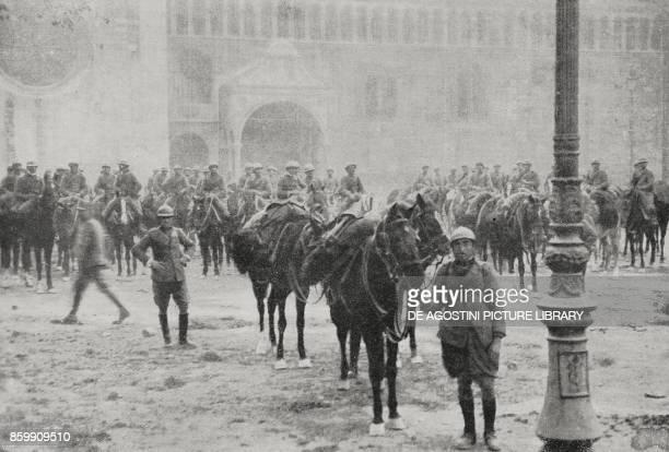 The Italian cavalry in the square of the Cathedral of Trento Italy World War I from l'Illustrazione Italiana Year XLV No 46 November 17 1918