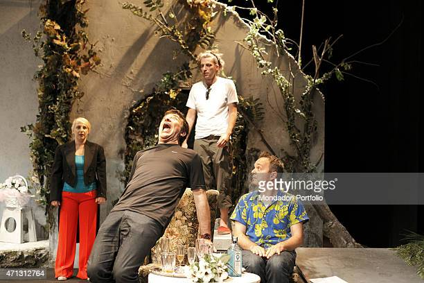 The Italian comic actor Gioele Dix real name David Ottolenghi gives some instructions to his actors during the rehearsal of A Midsummer Night's Dream...