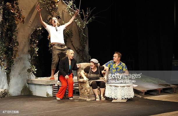 The Italian comic actors Maurizio Lastrico Katia Follesa Maria Di Biase and Corrado Nuzzo during the rehearsal of A Midsummer Night's Dream in the...