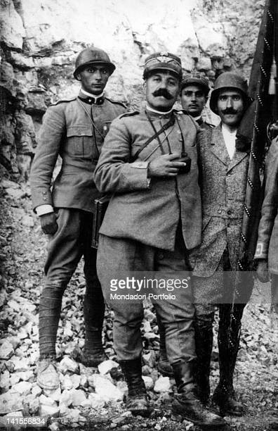 The Italian conductor Arturo Toscanini posing in a military uniform together with General Cascino on Skalnica in Slovenia 1910s