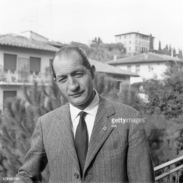 The Italian cycle champion Gino Bartali during a reportage for the program ''The wings of the exploit''
