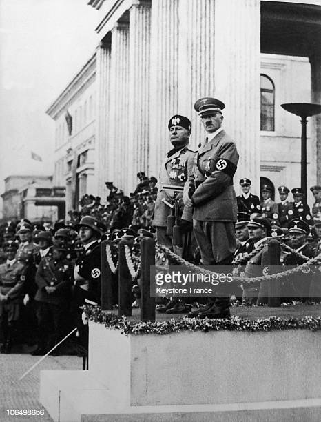 The Italian Dictator Benito Mussolini Visiting Adolf Hitler In Munich On September 27 1937 The Two Despots Strenghtened Their Union Through The...