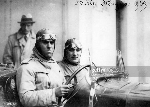 The Italian driver Tazio Nuvolari along with his navigator waiting for the start of the third Mille Miglia Italy 1929