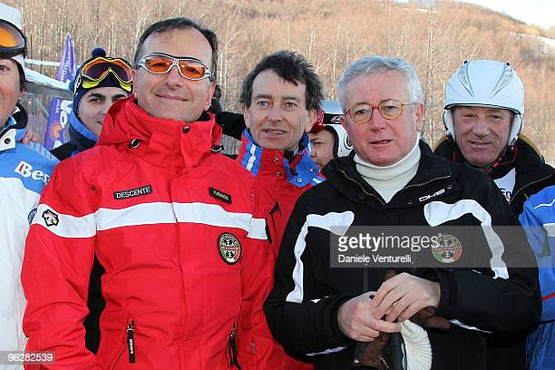 The Italian Foreign Minister Franco Frattini and Giulio Tremonti Minister of Economy and Finance attend a slalom race during the 1st Criterium On The...