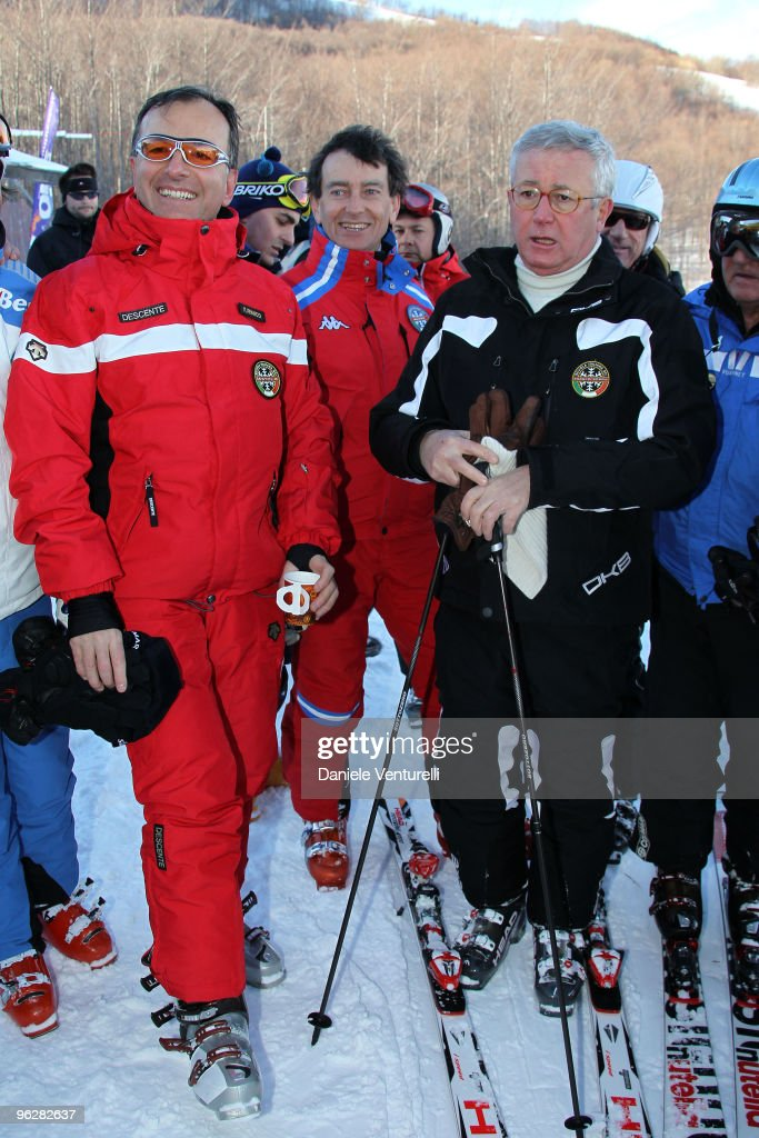 The Italian Foreign Minister Franco Frattini and Giulio Tremonti, Minister of Economy and Finance, attend a slalom race during the 1st Criterium On The Snow (1 Criterium Sulla Neve) of Italian Parliamentarists on January 30, 2010 in Sestola, near Modena, Italy.