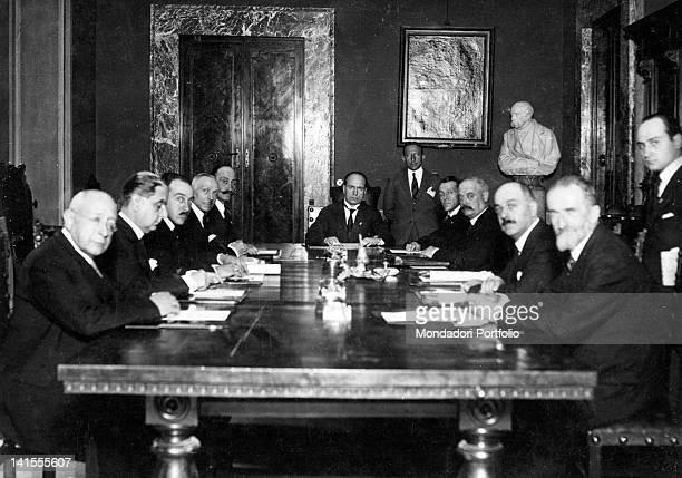 The Italian head of the government Benito Mussolini chairing the Comitato Permanente del grano on its first meeting at palazzo Chigi Rome 4th June...