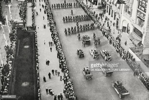 The Italian Mission accompanied by the guard of honour parading in front of the Public Library New York United States of America from L'Illustrazione...