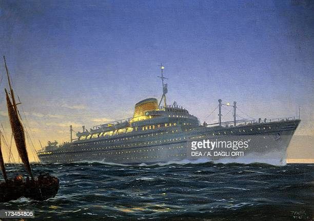 The Italian motor xhip the Africa built for Lloyd Trieste and used as a cruise ship launched January 24 painting by Paul Klodic Italy 20th century...