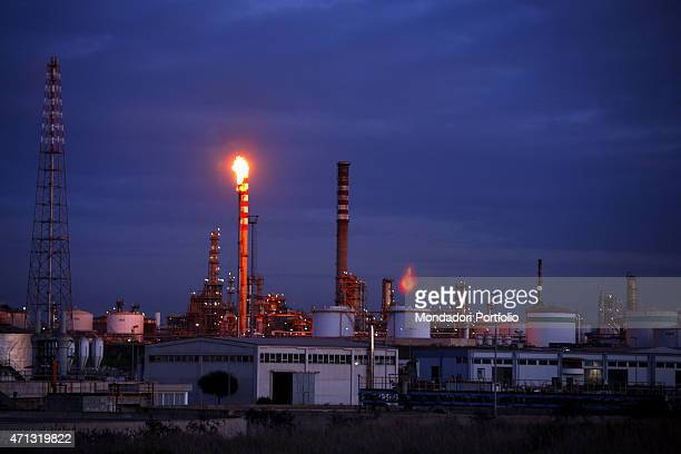 The Italian National Hydrocarbon Corporation plant in the industrial area of Taranto in a photo shooting Taranto Italy December 2008