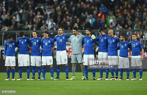The Italian national soccer team midfielder Alessandro Florenzi defender Matteo Darmian defender Federico Bernarderschi midfielder Riccardo Montolivo...