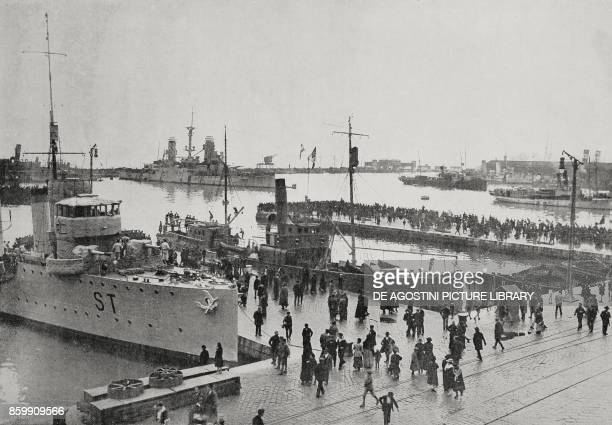 The Italian naval crew anchored in the port of Rijeka Croatia November 4 World War I from l'Illustrazione Italiana Year XLV No 46 November 17 1918