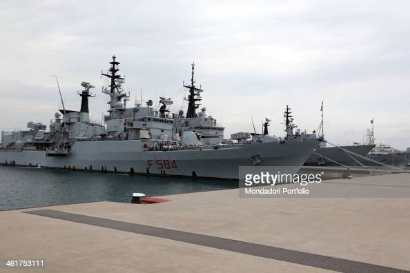 The Italian Navy Ship Bersagliere moored at the new sea base of Taranto during a photo shooting Taranto Italy 15th September 2009