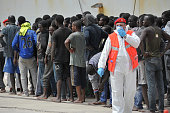 The Italian Navy ship 'Vega' arrives with more than 600 migrants and refugees on May 29 2016 in the port of Reggio Calabria southern Italy A week of...