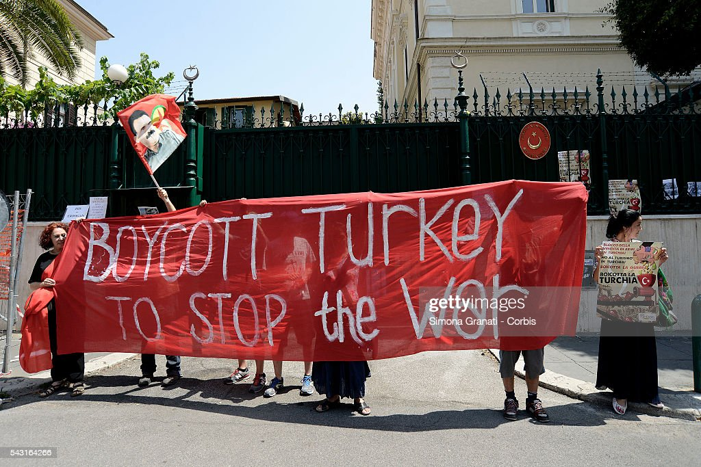 The Italian Network of solidarity with the Kurdish people is launching the boycott campaign to Turkey with a blitz at the Turkish embassy where activists opened a banner and put photos and posters of the turkish government's war against the Kurdish population, the poster campaign is signed by Zerocalcare,on June 25, 2016 in Rome, Italy.