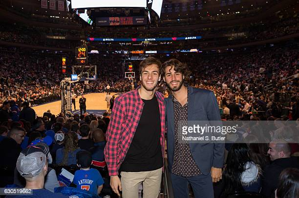 The Italian Olympic gold medallists Gregorio Paltrinieri and Gianmarco Tamberi attend the game between the Boston Celtics and the New York Knicks on...