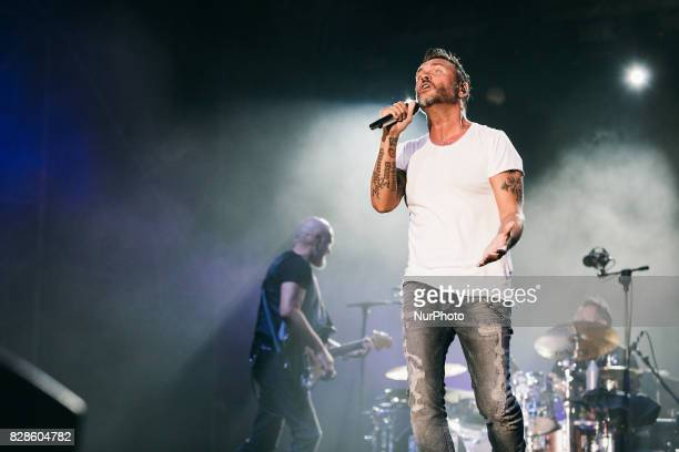 The italian pop singer Filippo Neviani quotNekquot during Unici Tour 2017 on stage as he performs at D'Annunzio theater in Pescara Italy August 9 2017