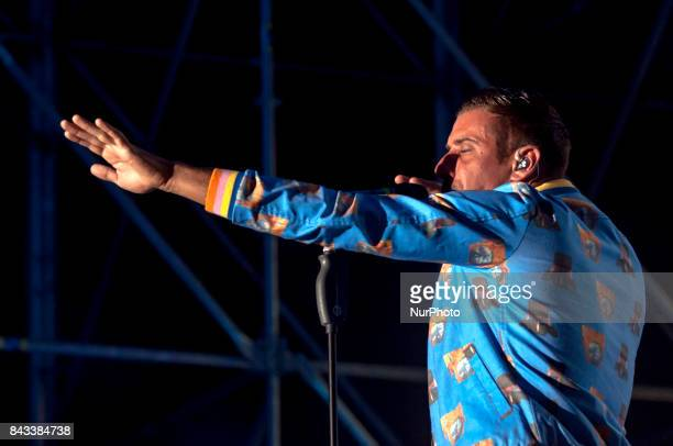 The italian pop singer Francesco Gabbani pictured on stage as he performs at Vicenza in Festival in Piazza dei Signori at Vicenza Italy on 05...