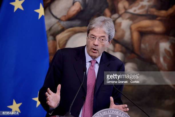 The Italian Premier Paolo Gentiloni during the meeting with the President of the German Social Democrat Party Martin Schulz at Palazzo Chigi on July...