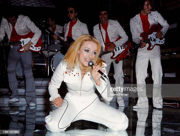 The italian presenter of television and singer Raffaella Carra in a show of the Spanish Television Madrid Spain