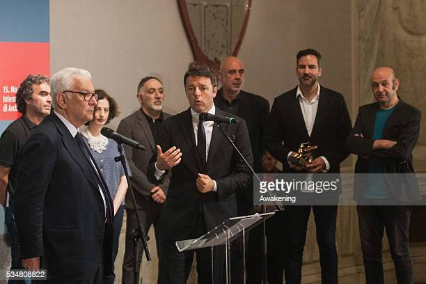The Italian prime minister Matteo Renzi speaks during the official opening ceremony of the 15th Biennale of Architecture on May 28 2016 in Venice...