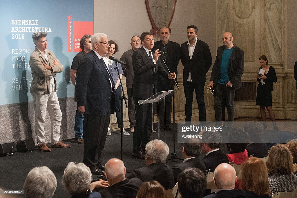 The Italian prime minister Matteo Renzi speaks during the official opening ceremony of the 15th Biennale of Architecture on May 28, 2016 in Venice, Italy. The 15th International Architecture Exhibition of La Biennale di Venezia will be open to the public from May 28 to November 27 in Venice, Italy.