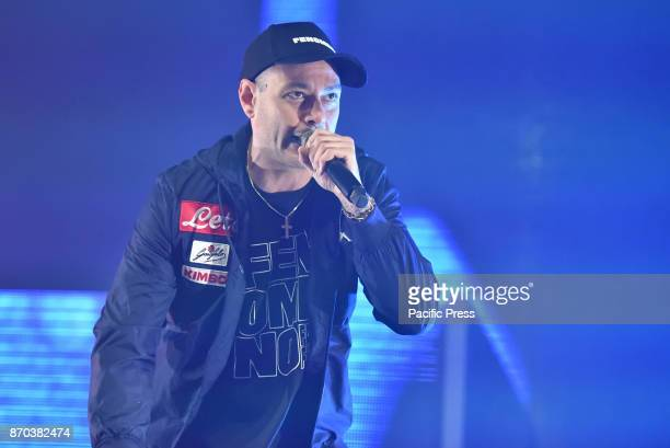 PALAPARTENOPE NAPOLI ITALY The Italian rapper and songwriter Fabri Fibra performing live on stage at the PalaPartenope of Napoli with his 'Fenomeno'...