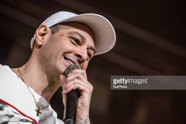 The italian rapper Fabri Fibra performs at Alcatraz in Milan Italy on 23 October 2017 during 'Fenomeno' Tour 2017