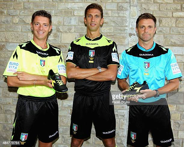 The Italian Referees Nicola Rocchi Paolo Tagliavento and Nicola Rizzoli unveil the new kits for this season at Coverciano on August 21 2015 in...
