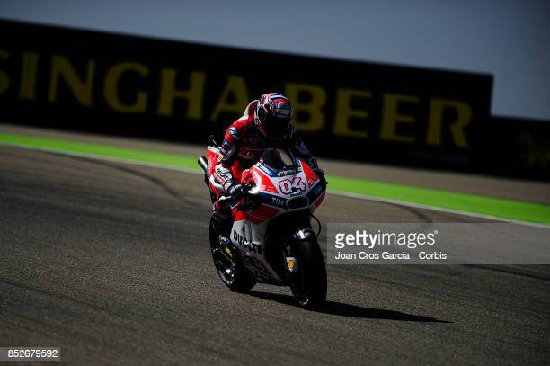 The Italian rider Andra Dovizioso od Ducati Team in action with his Ducati during the Gran Premio Movistar de Aragón Qualifying on September 23 2017...