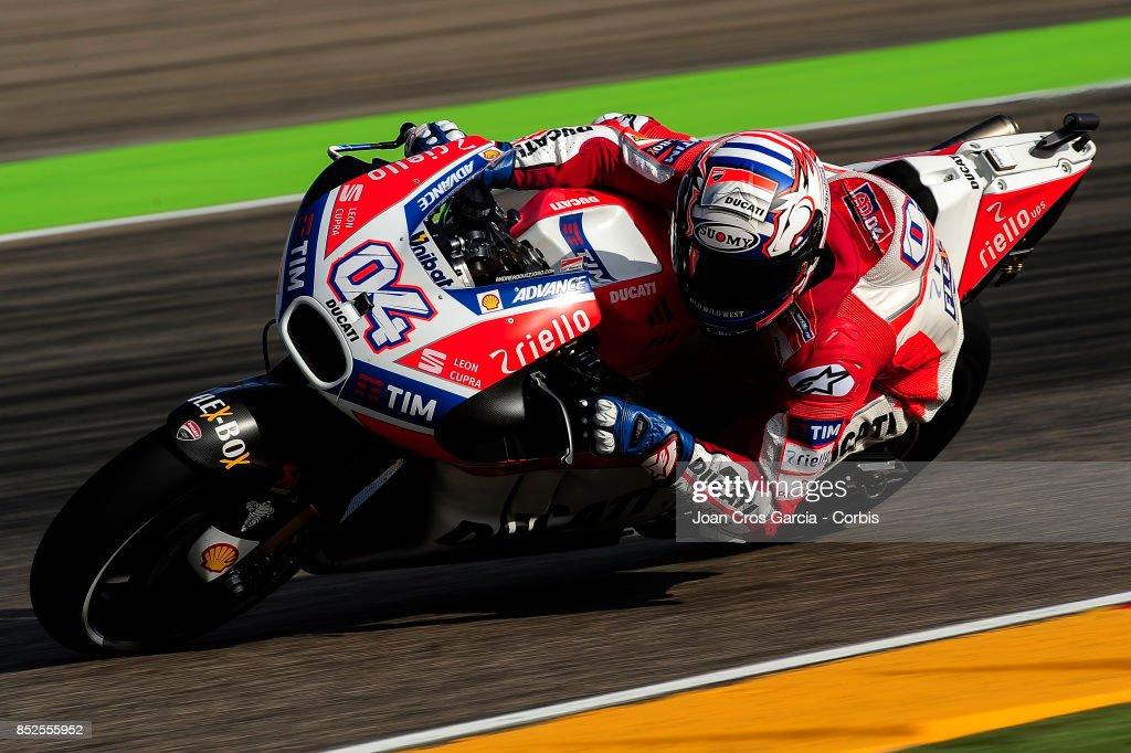 The Italian rider Andrea Dovicioso of Ducati Team, in action during the Gran Premio Movistar de Aragón free practice 3 on September 23, 2017 in Alcañiz, Spain.'n