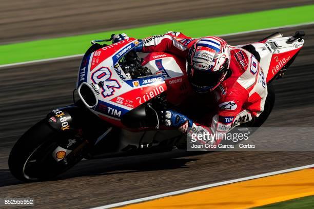 The Italian rider Andrea Dovicioso of Ducati Team in action during the Gran Premio Movistar de Aragón free practice 3 on September 23 2017 in Alcañiz...