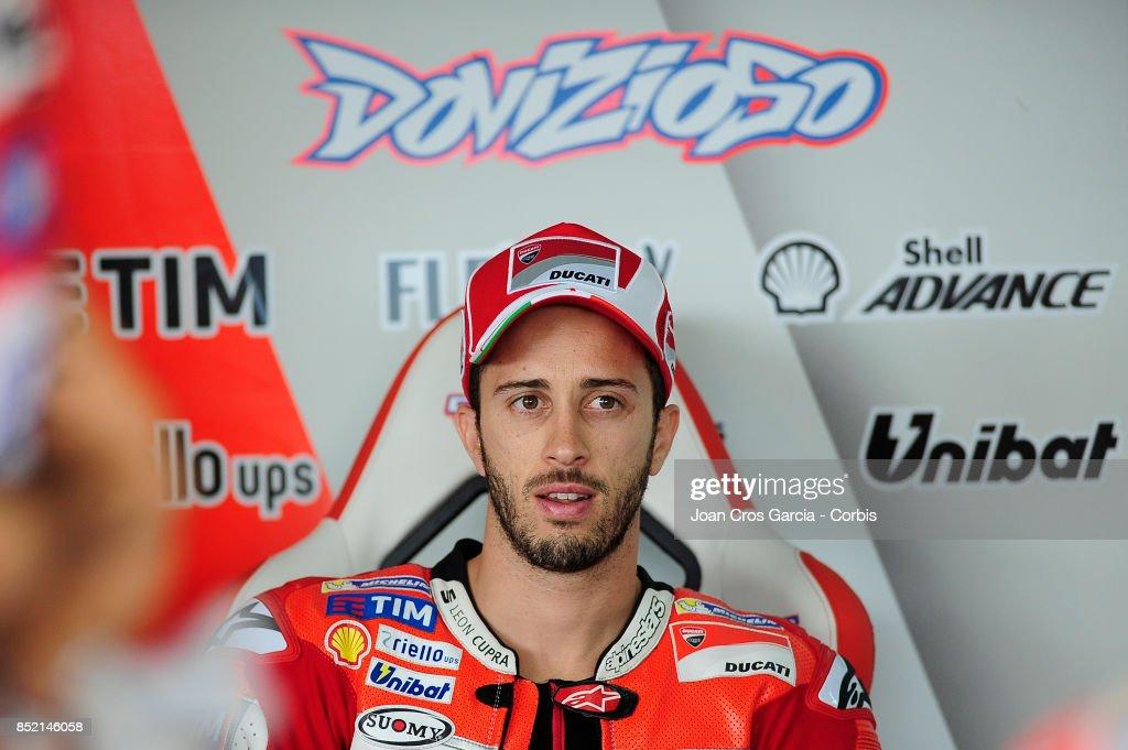 The Italian rider, Andrea Dovizioso of Ducati Team, inside his box during the Gran Premio Movistar de Aragón free practice 2 on September 22, 2017 in Alcañiz, Spain.