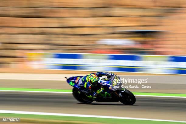 The Italian rider Valentino Rossi of Movistar Yamaha MotoGP in action during the Gran Premio Movistar de Aragón Qualifying on September 23 2017 in...
