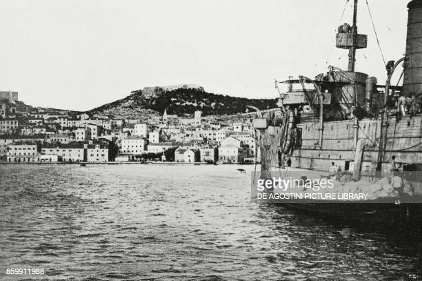 The Italian ship Cortellazzo downloading food for the population of Sibenik Croatia World War I from l'Illustrazione Italiana Year XLV No 48 December...