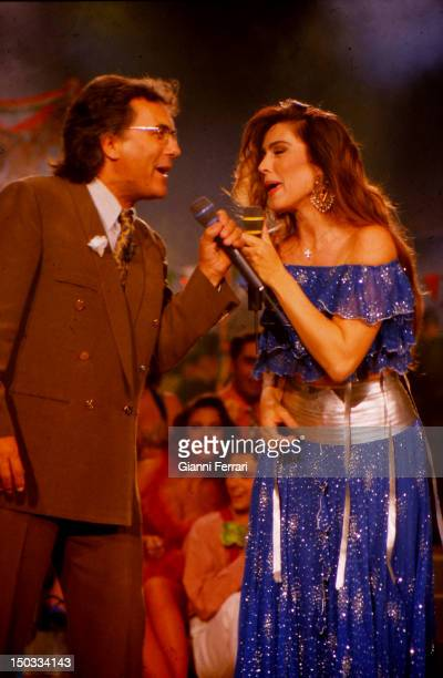 The Italian singer Al Bano and the American singer Romina Power during a show Madrid Spain