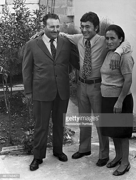 The italian singer Al Bano born Albano Carrisi smiles with his mother Jolanda and father Carmelo in Cellino San Marco Cellino San Marco Italy