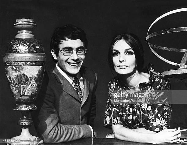 The italian singer Al Bano born Albano Carrisi smiles with the french singer Marie Laforet 1968
