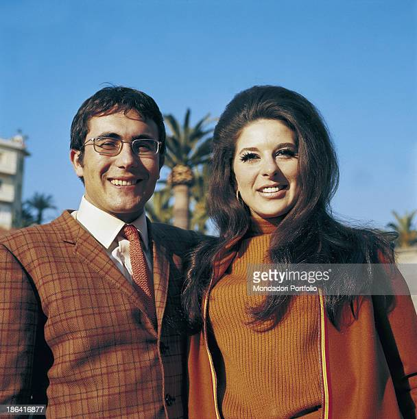 The italian singer Al Bano born Albano Carrisi with the american singer Bobbie Gentry born Roberta Lee Streeter smiling during the Sanremo Music...
