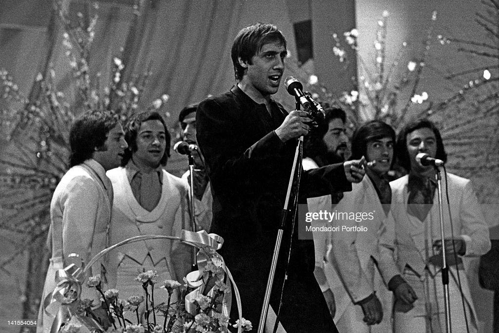 The Italian singer and actor Adriano Celentano singing 'Chi non lavora non fa l'amore' the song will win the Festival Sanremo February 1970